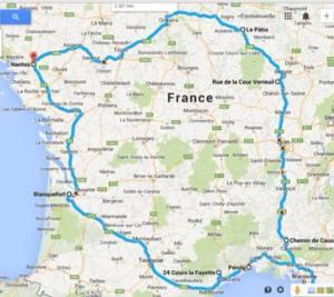 Cette carte est le trajet qu'à emprunté 10-Vins pour sa route des vins