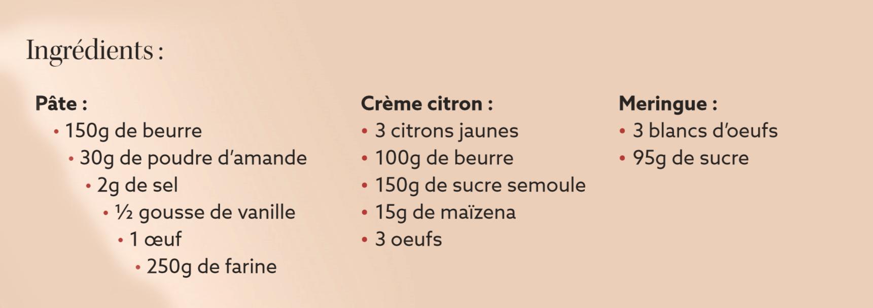 description tarte citron