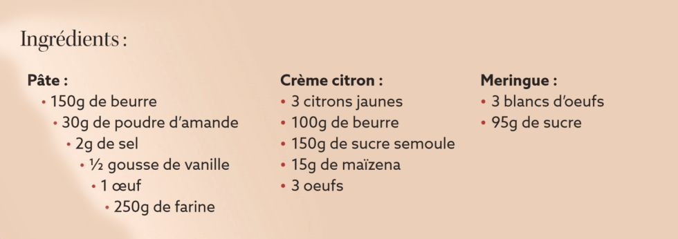 description tarte citron